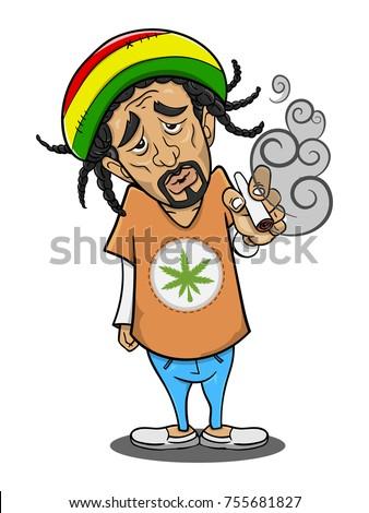 a man smoking cannabis cartoon