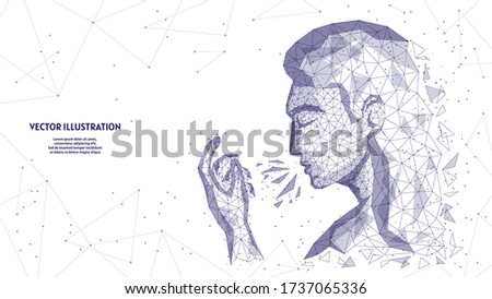 A man sneezes in his hands. Woman's face close up. Symptom of infection, spread of the viral infection COVID-19 coronavirus, innovative medical technology. low poly wireframe vector illustration. Photo stock ©