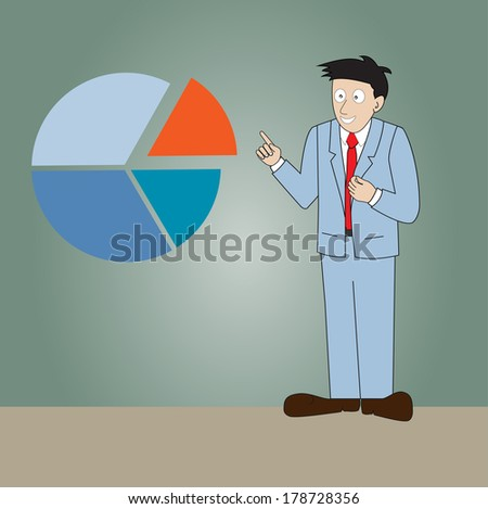 A man standing in front of  presentation  circle graph.