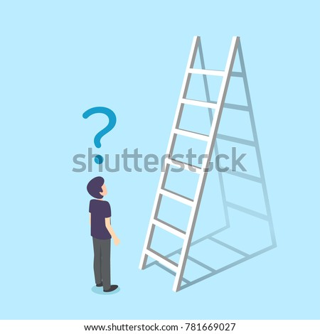 A man standing next ladder