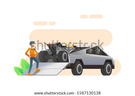 A Man Stands Next To A Tesla Cyber Truck Car That Carrying An ATV In The Rear Trunk. Cyber Truck Vector. Futuristic And Modern Autonomous Self Driving Car Truck Illustration Background.