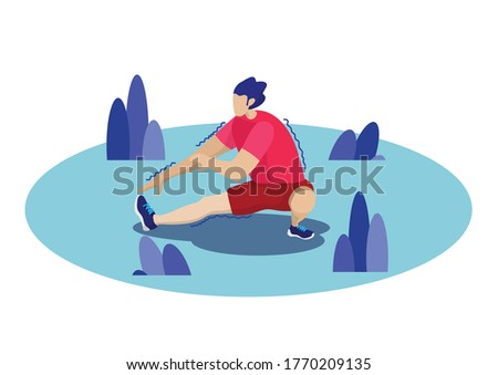 a man stretching before running exercise for good healthty warm up and warm down activity, workout for jogger and runner. vector illustration. Stock photo ©