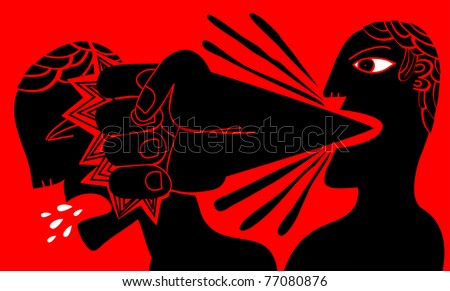 a man strikes to another one with a fist that leaves its mouth - stock vector