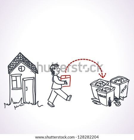A man taking out the trash. Vector illustration.