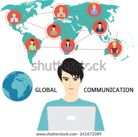 A man using internet to communicate with his friends, colleagues, alliances, family and etc. from anywhere. Global  communication.