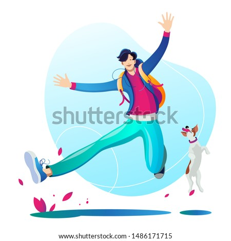 A man walking and playing with his dog. Character. Illustration on white background. Stockfoto ©