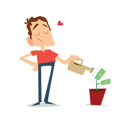 A man watering money plants, concept for saving and making money, investment, getting profit, financial management isolated on white background. Vector illustration