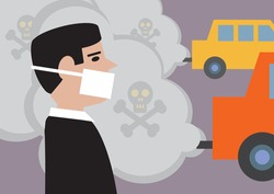 A man wearing a mask to lessen the effect of toxic, traffic pollution.