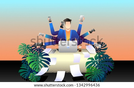 A man who has many hands. Businessman, manager, marketer, manager, sales manager, account manager, call center operator, director. Employee accepts calls in the office. Vector illustration