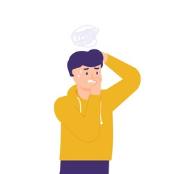 a man who is worried, afraid, stressed, anxious, thinking about something. illustrations of facial expressions of people in trouble. flat style. vector design