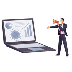a man with a microphone reads a virus report, on a laptop a virus spreading chart, vector illustration, isolated object on a white background,