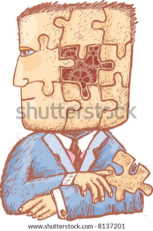 a man with a puzzle piece in his hand and some mechanical gears into his head. A head divided by puzzle pieces.
