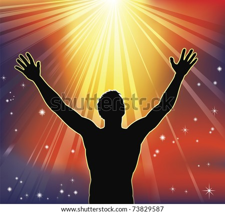 A man with arms raised to heaven. Conceptual illustration with many religious or secular interpretations.