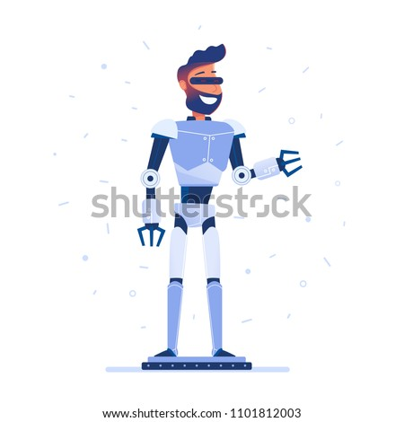 A man with robot body in VR headset. Futuristic concept of virtual reality, robotization, automatization, exoskeleton, digital technologies. Vector flat design illustration.