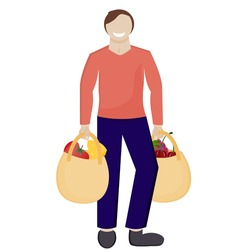 A man with shopping bags is isolated on a white background. Vector illustration in flat cartoon style. A man with shopping smiles, bought vegetables and fruits in a grocery store.