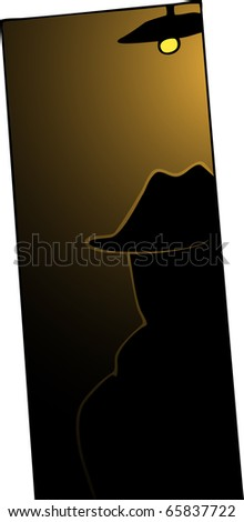 A man with trench coat and hat backlit in dark doorway. - stock vector