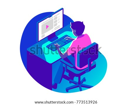 A man working on the computer in the evening on the dark background. Isometric 3d vector illustration.
