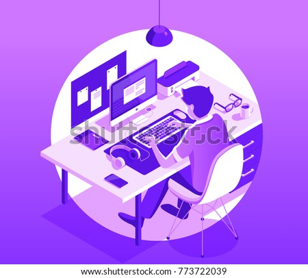 A man working on the computer. Workspace concept with devices. Smart phone, tablet, desktop computer, glasses, cup of coffee, notebook, headphones. Isometric 3d vector illustration.