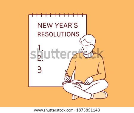 A man writes a list of goals for 2021 in a white notebook. Hand drawn style vector design illustrations.