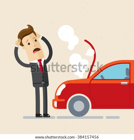 A manager or businessman have a force Majeure, a car broke down. Illustration, vector EPS 10 Stockfoto ©