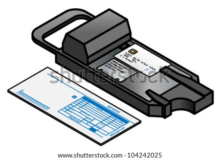 A manual credit card POS imprinter - click clack!