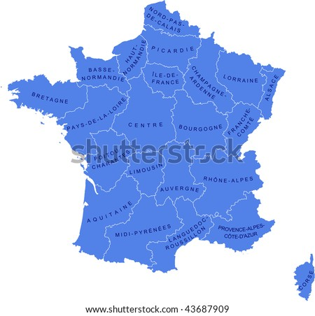 Regions on Map As A Vector Illustration Showing The Regions Of France And Their