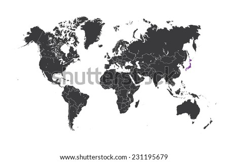 A Map of the world with a selected country of Japan