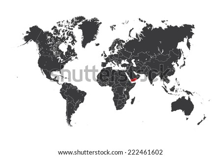 A Map of the world with a selected country of Yemen