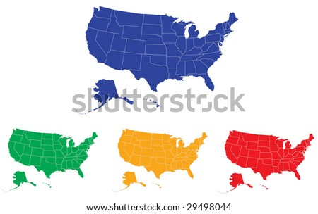 A map of USA with separable borders and modifiable colors in vector art.