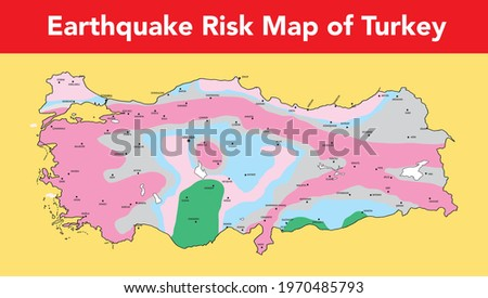 A map showing the earthquake risk map of Turkey in color Stok fotoğraf ©