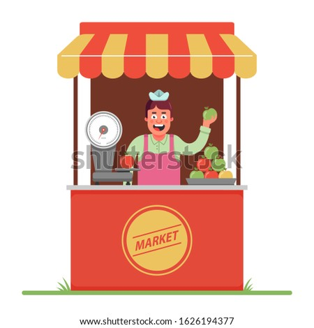 a market seller sells and weighs apples. a small tent in the market. Flat character vector illustration.