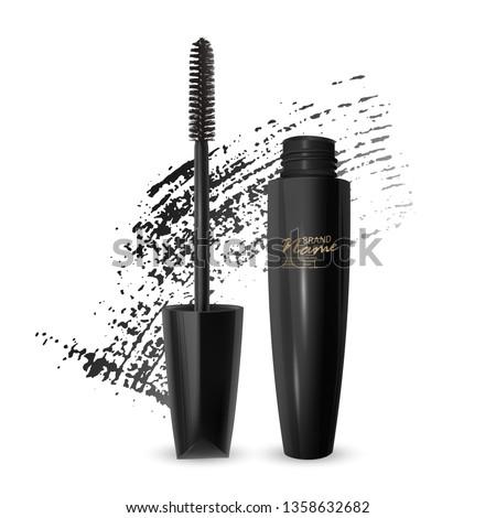 A mascara tube and a wand applicator. Cosmetic black bottle with eyelash brush. Isolated on white background. black brush stroke, 3d realistic vector illustration