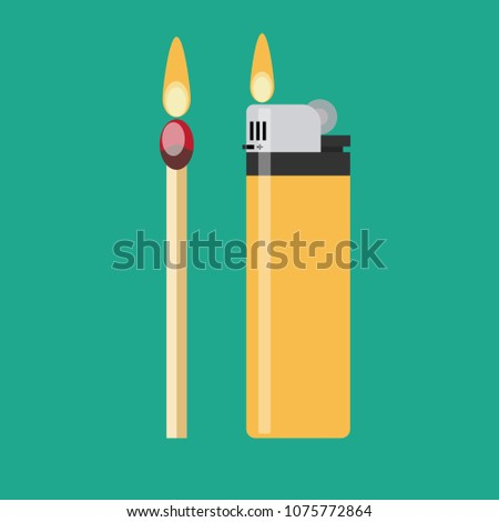 a match and a blue gas lighter each with flaming fire. Stock flat vector illustration. ストックフォト ©