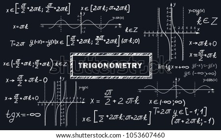 A mathematical pattern with formulas and graphs of trigonometric functions. School backround. A board with equations