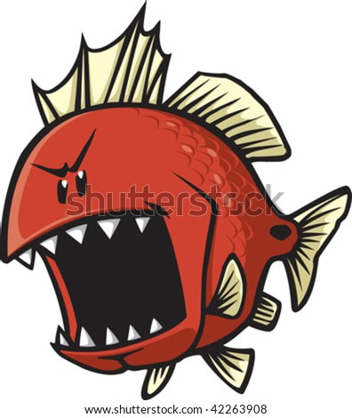A mean looking cartoon Red fish. Vector file.