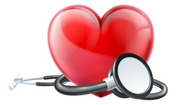 A medical doctors stethoscope and a heart icon
