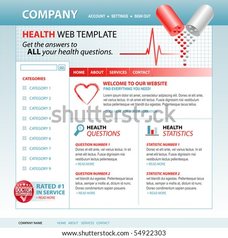 A medical, health internet website template with pills and a heartbeat pulse in the header. Add your text to the navigation and buttons. Use the layout for a hospital, health care or pharmacy theme. - stock vector