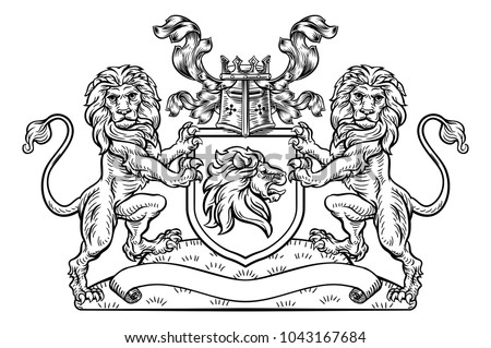 stock-vector-a-medieval-heraldic-coat-of-arms-crest-emblem-featuring-lion-supporters-flanking-a-shield-and-a