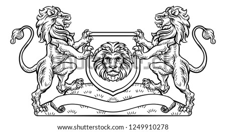A medieval heraldic coat of arms emblem featuring rampant lion animal supporters flanking a shield charge in a vintage woodblock style. Stockfoto ©
