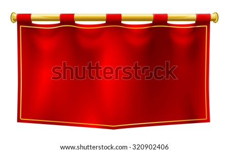 a medieval style red banner...