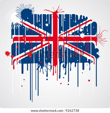 a melting and splatter union jack flag with drops and stains