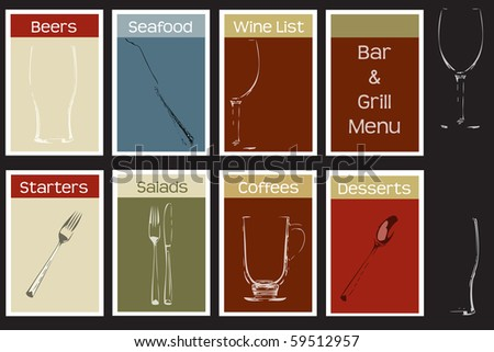 A menu cover set for a bar and grill steak house concept, includes typeface information