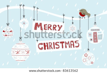 A Merry Christmas sign tied to a branch with snow, a robin, and baubles. Vector Version.