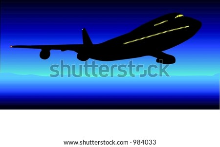 A midnight flight - vector illustration