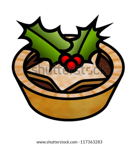 A mince pie decorated with holly leaves and berries.