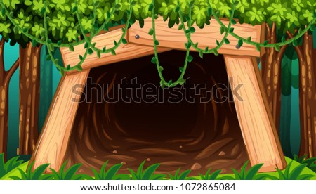 a mine cave from outside view...