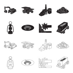 A miner lamp, a funnel, a mining combine, a trolley with ore.Mining industry set collection icons in black,outline style vector symbol stock illustration web.