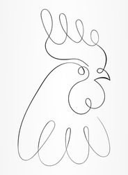 A minimal, abstract and creative line art rooster, chicken and cock logo