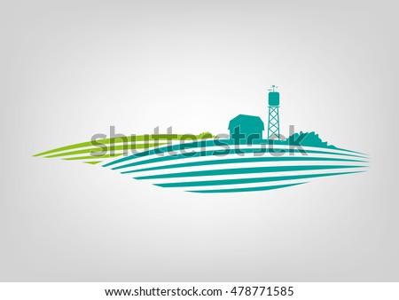 a minimalist icon of a farmland
