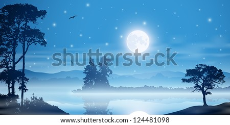 A Misty River Landscape with Moon, Stars and Trees